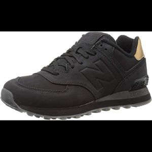 New Balance 574 Molten Metal Black & Gold Sneakers